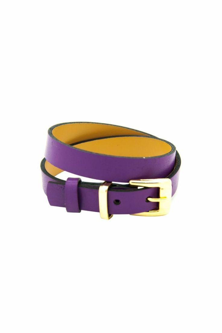 Altın Kaplama Tokalı Mor Dana Derisi Bileklik. 2 tur. Tasarım. Leather bracelet.
