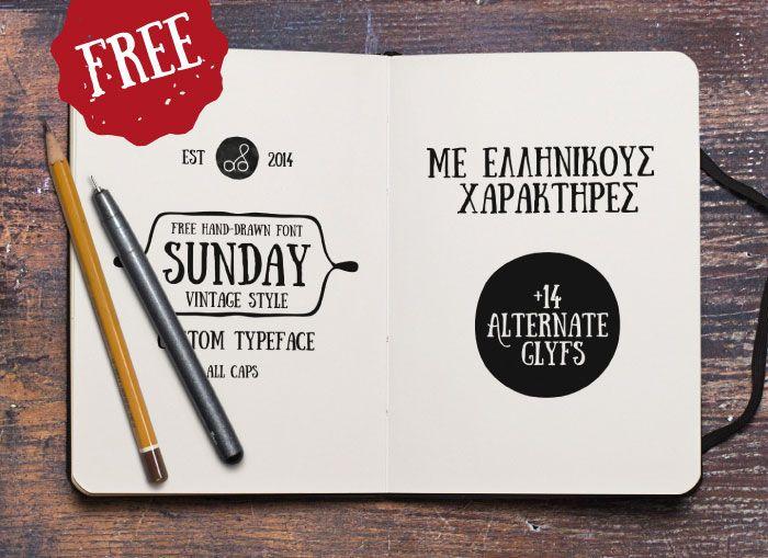 Sunday – hand-drawn free font by Anastasia Dimitriadi from Greece!
