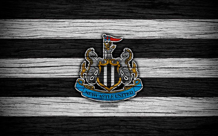 Download wallpapers Newcastle United, 4k, Premier League, logo, England, wooden texture, NUFC, FC Newcastle United, soccer, football, Newcastle United FC, Newcastle Utd