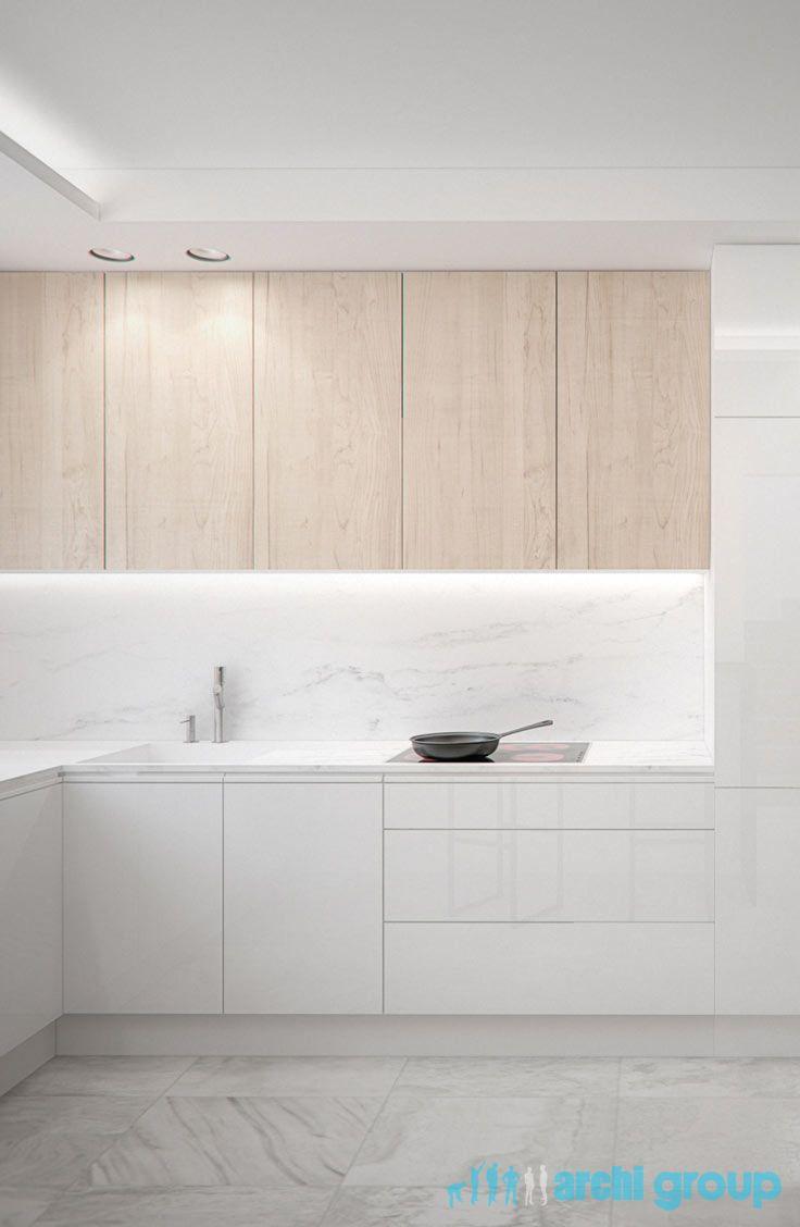 White kitchen design in Myslowice POLAND - archi group. Kuchnia w domu jednorodzinnym w Mysłowicach.