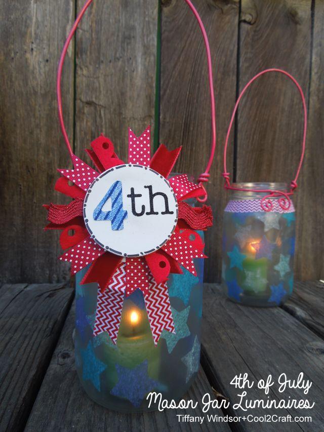 Aleenes 4th of July Mason Jar Luminaries with Ribbon Medallion by Tiffany Windsor