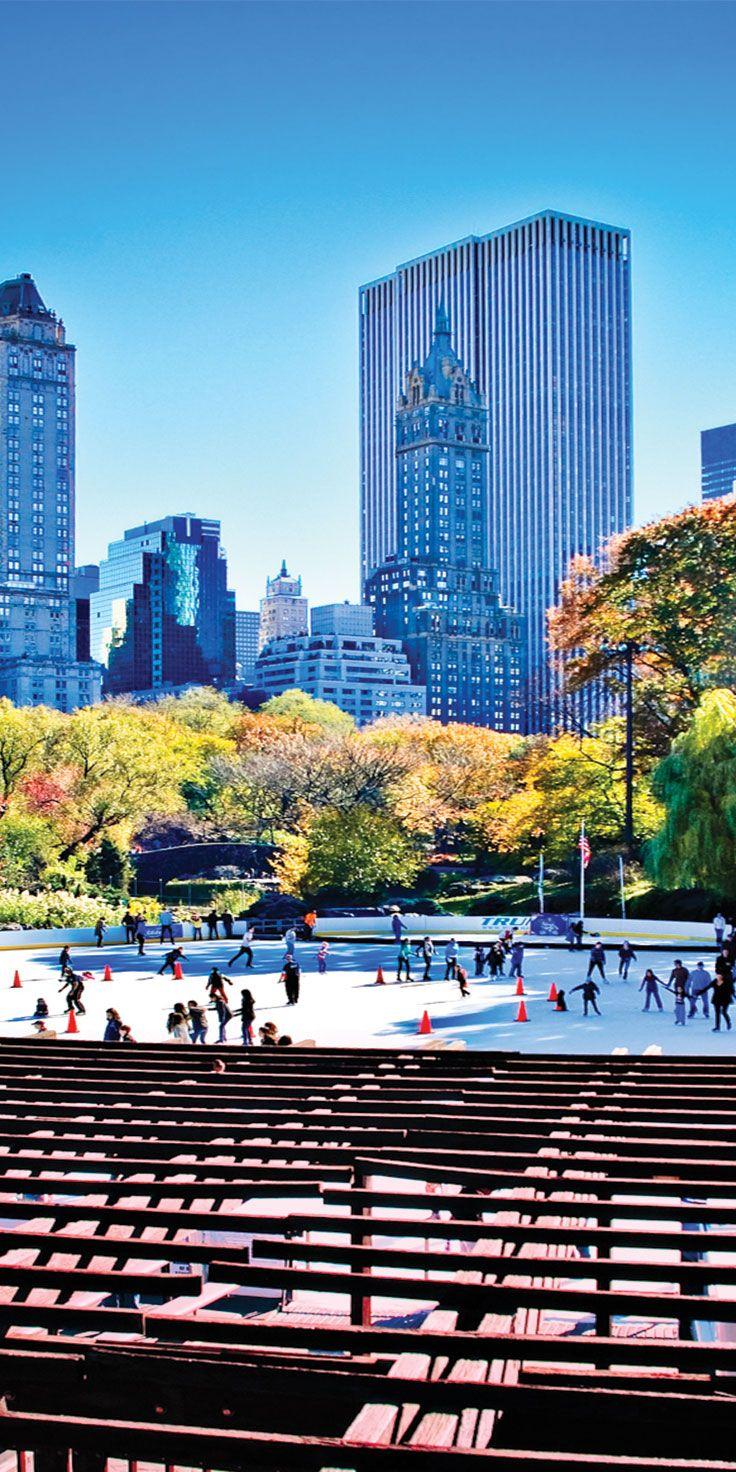 Ice skating in Central Park, New York City.