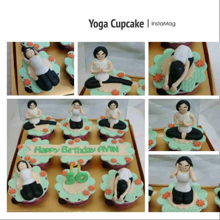 Yoga birthday cupcake