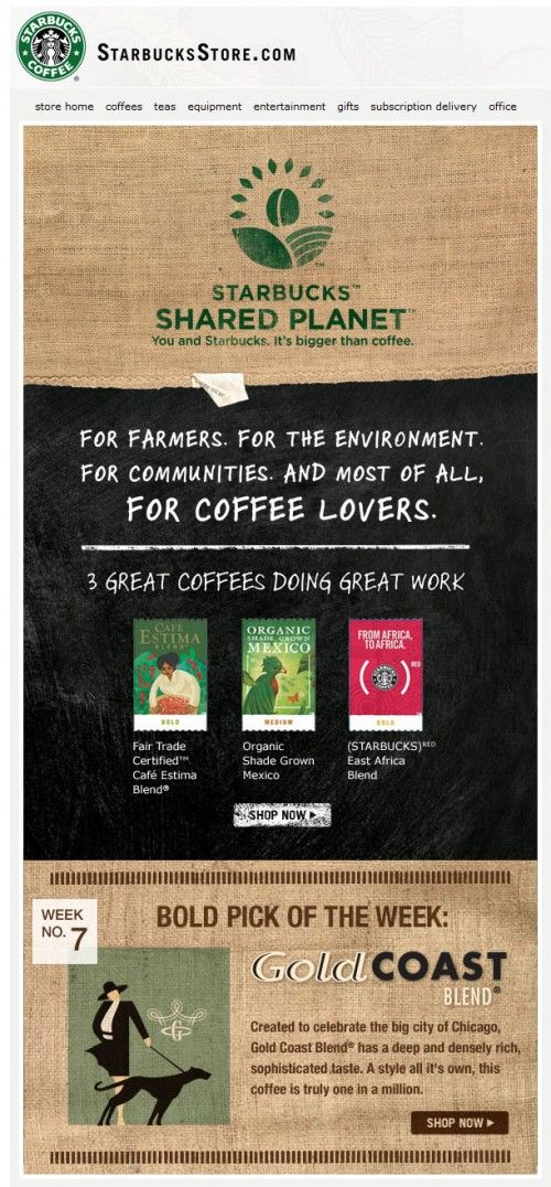 e mail newsletter inspiration application starbuck coffe