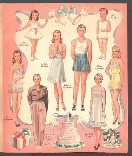 545 best Paper Doll Wedding images on Pinterest Paper Vintage