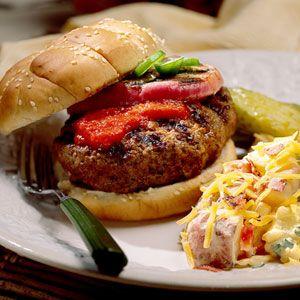 Jalapeño-Stuffed Burgers With Roasted Bell Pepper Ketchup | MyRecipes.com