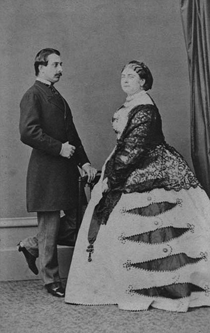 "Princess Mary Adelaide Wilhelmina Elizabeth (1833-1897) of Cambridge, UK with her new German husband Francis (Francis Paul Charles Louis Alexander) (1837-1900) Duke of Teck in 1866. Parents of Mary (Victoria Mary Augusta Louise Olga Pauline Claudine Agnes ""May"") (1867-1953) of Teck, who would become the wife of UK King George V (1865-1936)."