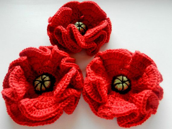 Crocheted poppy crochet flowers crocheted poppies by LaumaShop,