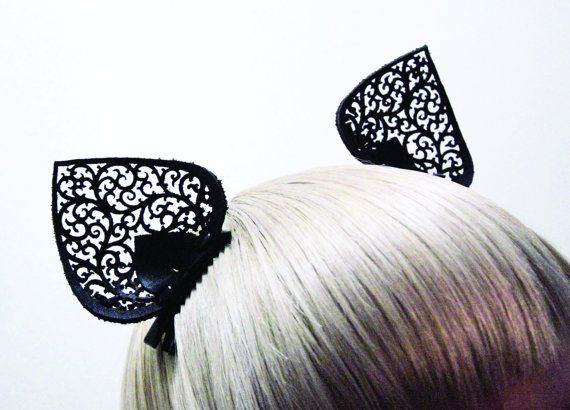 Black Laser Cut Leather Lace Clip On Cat Ears  by SkadiJewellery, $45.00
