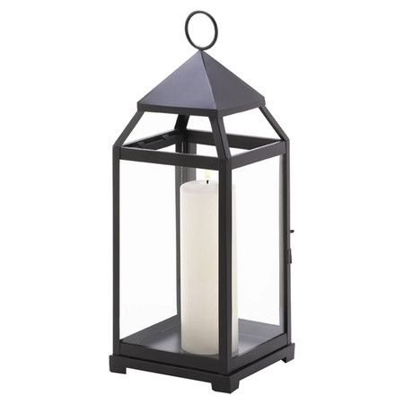 """Iron Craftsman-style candle lantern.   Product: LanternConstruction Material: Iron and glassColor: BlackAccommodates: (1) Candle - not includedDimensions: 17.5"""" H x 7"""" W x 7"""" D"""