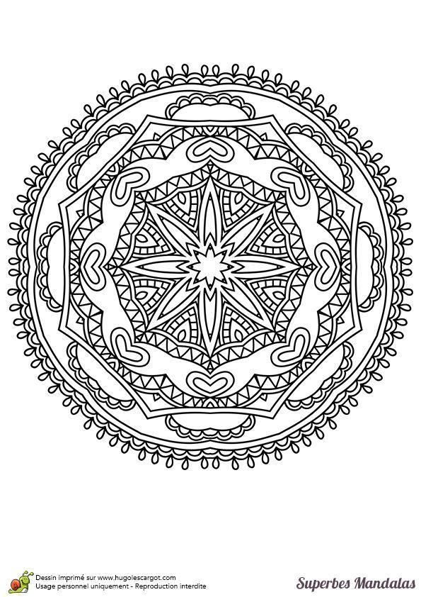 Coloriage d'un superbe mandala rond assez facile à colorier - Hugolescargot.com