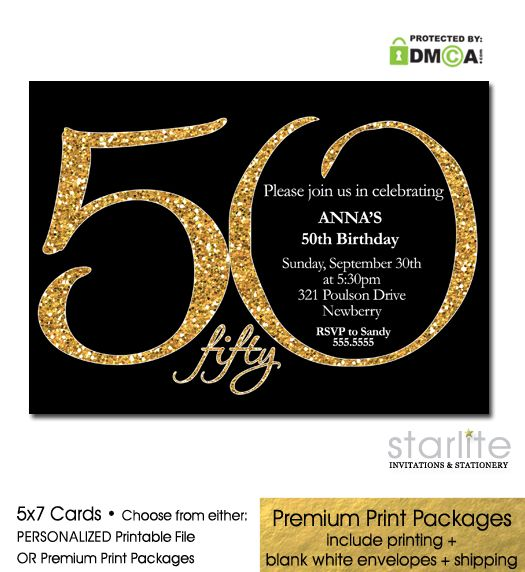"Exclusive Designer 50th Birthday Invitation - Modern Number, Black + Gold Glitter - this ""Modern Number"" series is exclusive to Starlite. Unique 50th Birthday Invitation  http://starliteprintables.indiemade.com/product/black-gold-glitter-50th-birthday-invitation-modern-number"