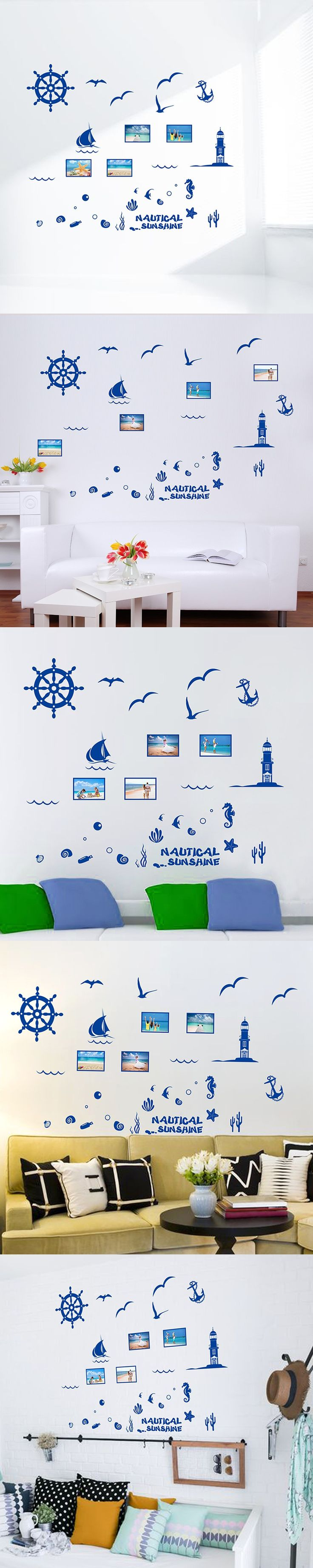 Nautical Decor Wall Sticker Mediterranean Blue Aquatic Plant Photo Frame Memory Sticker For Children Home Decoration Accessories $7.96