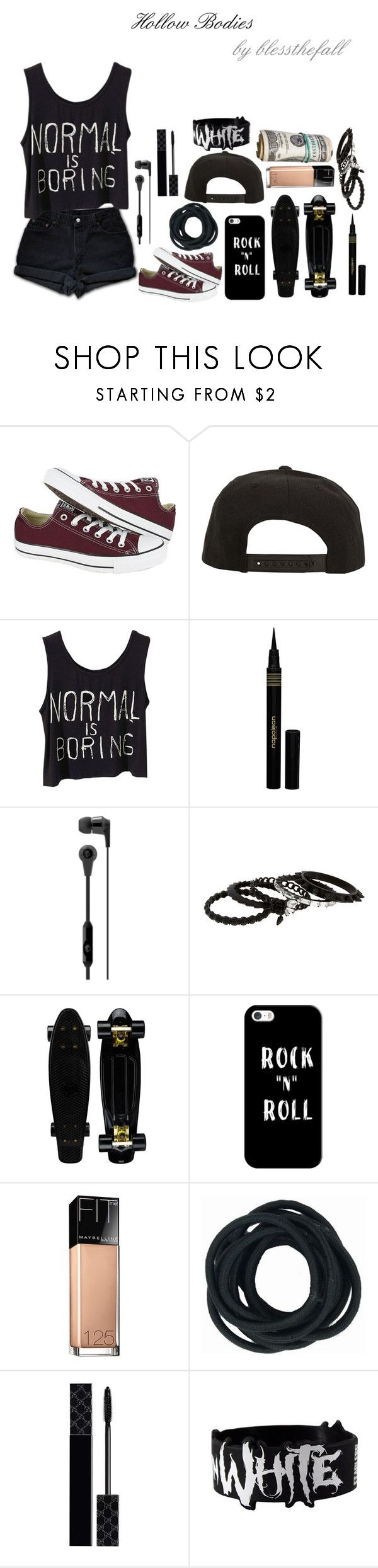 """""""❝Hollow Bodies; Blessthefall❞"""" by that-weirdo987 ❤ liked on Polyvore featuring Converse, Roark, Napoleon Perdis, Skullcandy, Erickson Beamon, Casetify, Maybelline, Gucci, music4lyfeee and notyettagged"""