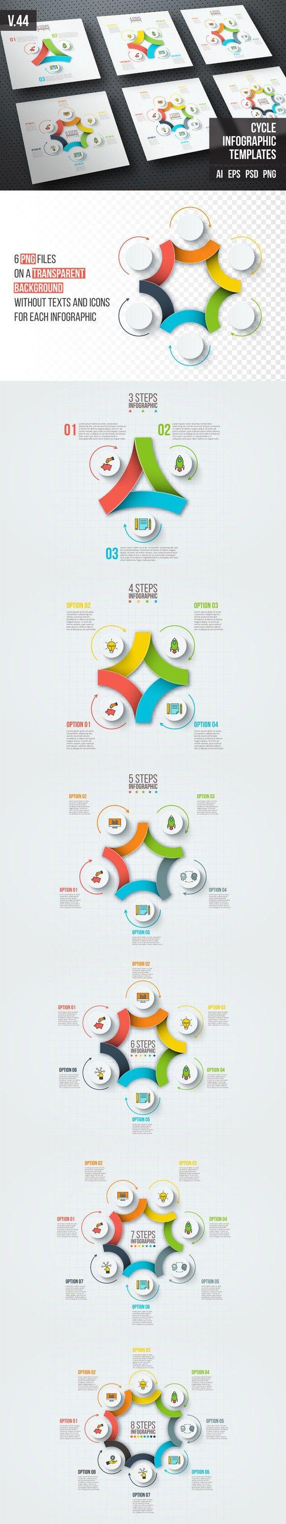 Infographics template set v.44. Presentation Templates. $5.00