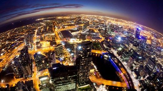 City view of Melbourne skyline by night. Rated as the second best student city in the world 2015 - Studer i utlandet med KILROY http://travels.kilroy.no/destinasjoner/oceania/australia/melbourne