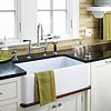 Pro: Farm-style sinks exude a classic, clean look. Most feature a deep basin that makes it easier to clean oversize pots and pans. As with other styles, this sink can be crafted from a number of materials, though enameled cast iron is probably the most common.  Con: As trends change, its distinctive styling may become dated.