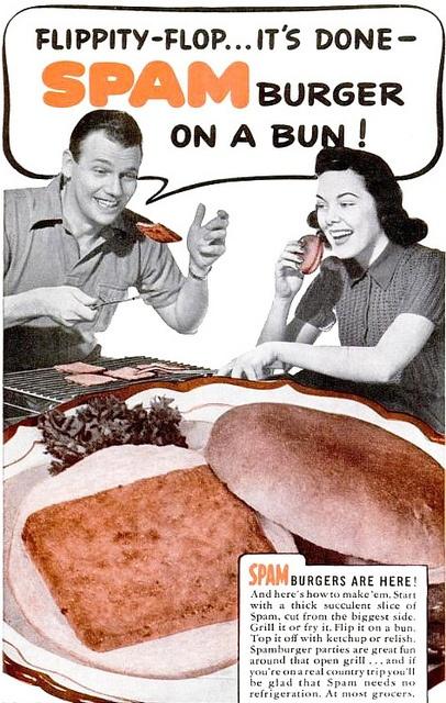 Flippity-flop...it's Spam on a bun! #vintage #food #ads #1940s