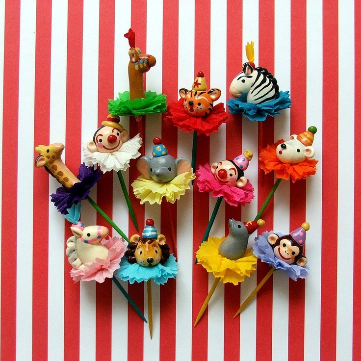 Circus Cupcake Toppers Carnival Vintage