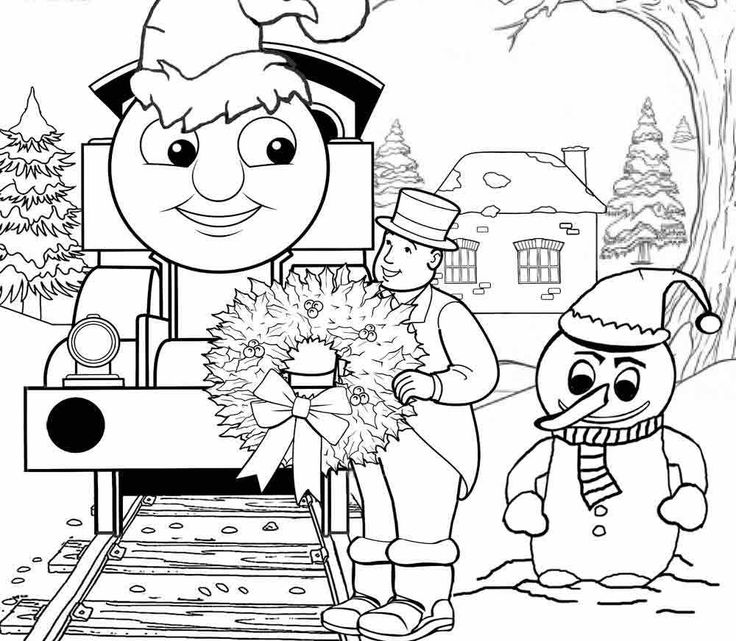 Thomas In The Christmas Coloring Page