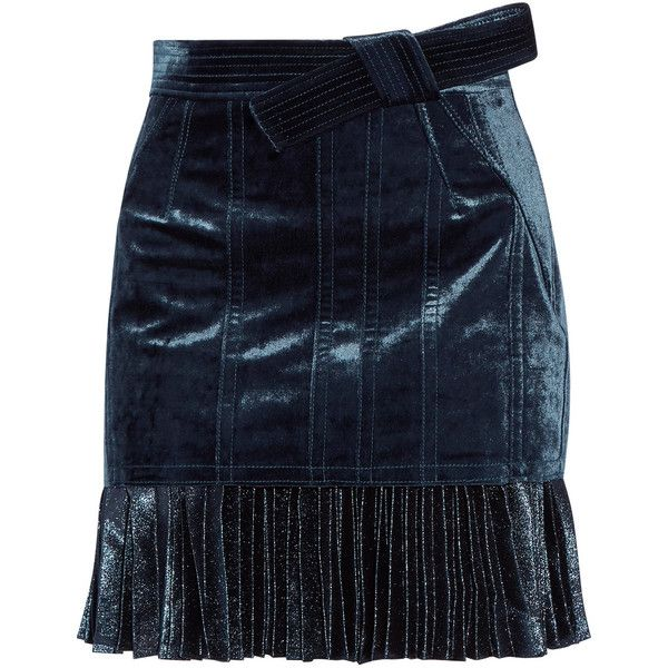 3.1 Phillip Lim's mini skirt is cut from sapphire velvet and trimmed with a metallic accordion pleated hem for a layered effect. This thigh-grazing design has …