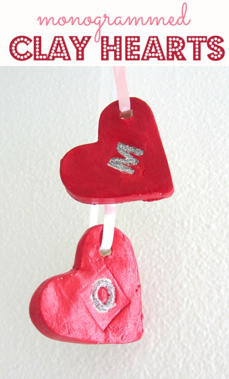 Monogrammed Clay Hearts Craft, from @Melissa & Doug Toys blog