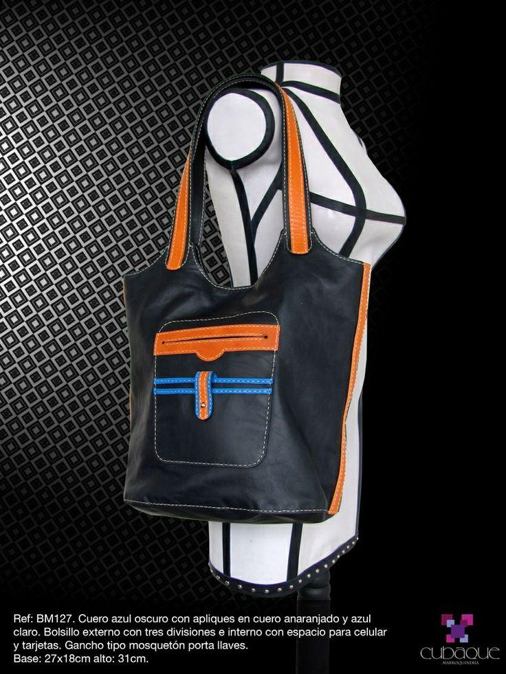 Bolso de cuero azul combinado #handmade #bags #accesorios #hechoamano #leather #cuero #bolsos