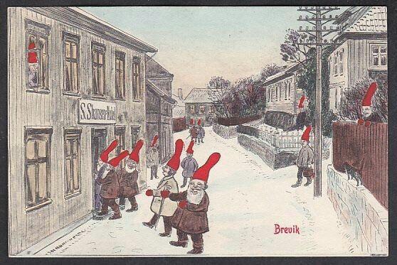 Julekort Brevik. Nisser i gaten. C.P.C. Albretsen/E.St.N.