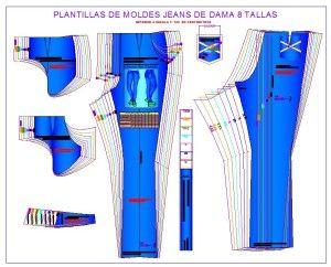 Plantillas de moldes para fabricar pantalones jeans de dama.