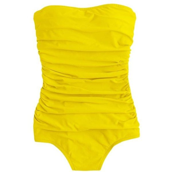 J.Crew D-Cup Ruched Bandeau One-Piece Swimsuit (€96) ❤ liked on Polyvore featuring swimwear, one-piece swimsuits, bandeau swimsuit, ruched one piece bathing suit, halter top one piece swimsuits, balconette bra and halter top