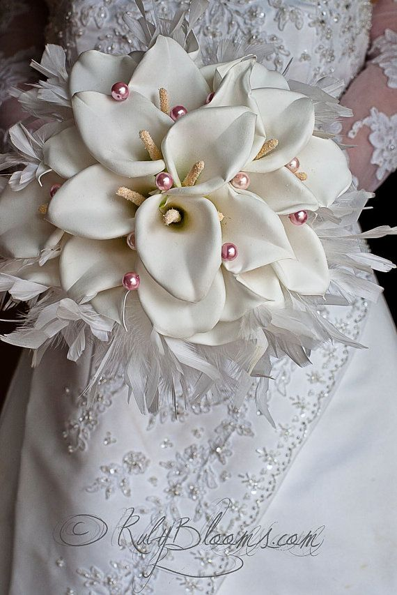 Wedding broach bouquet 10 Calla Lily and Pearls by Rubybloomscom
