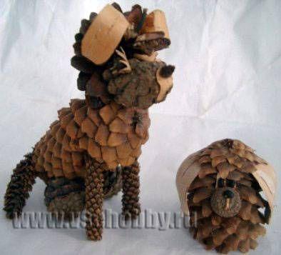собака поделка из природного материала своими руками