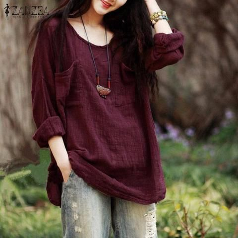 43782b8534e85 Women Blouses Tops 2018 Autumn Casual Loose Oversized O Neck Long Sleeve  Pockets Cotton Solid Shirts