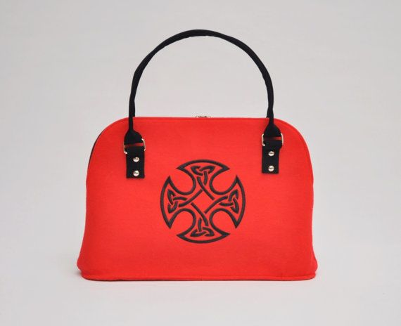 RED FELT BAG Stylish felt hand bag with Celtic by CelticSecrets