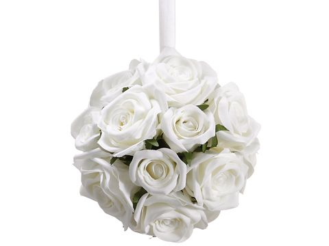 Open Rose Kissing Ball in White - 7 Inches in Diameter
