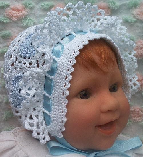 Original Design! Totally adorable!! This bonnet makes a great gift for a special baby girl or an expecting mother. It will be hand crocheted from cotton thread in colors of your choice.
