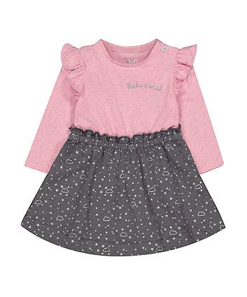 a4612c870 grey and pink stars twofer dress