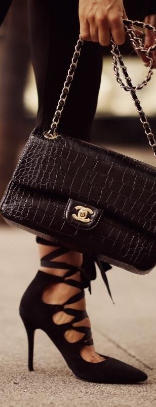 Chanel black purse laced up shoes