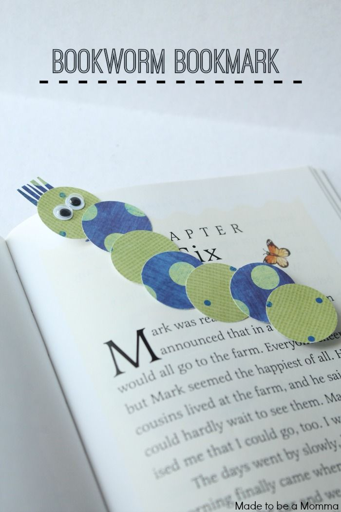 Bookworm Bookmark - have each child I the class decorate their own paper and punch out shapes using big craft punches. Then give one of their shapes to each child in the class and it is a friendship bookmark!