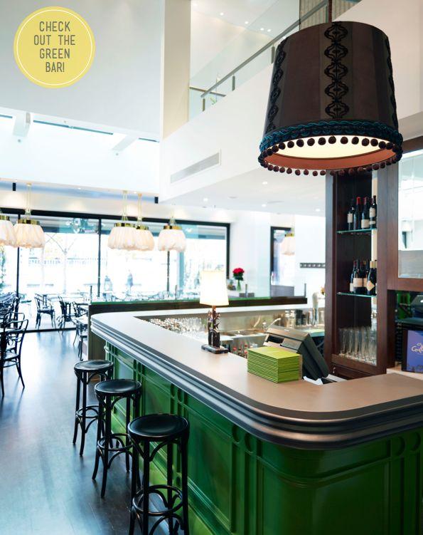 pom pom shade trim. get rid of the other embellishment.: Melbourne Australia, Bar Design, Restaurant Design, Restaurant Interiors, Bistros, Colors, Interiors Design, Restaurants, Green Bar