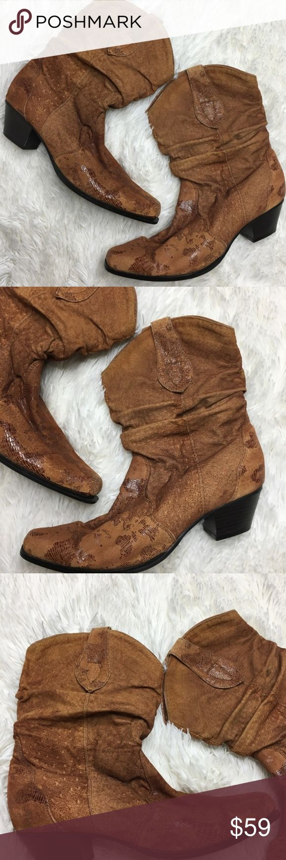 Oak Tree Farms Boots 9.5 Leather Suede Slouchy Oak Tree Farms Boots 9.5 Leather Suede Slouchy Boots Brown Cowboy Western Womens Heel height is 2.25 inches Oak tree farms Shoes Ankle Boots & Booties