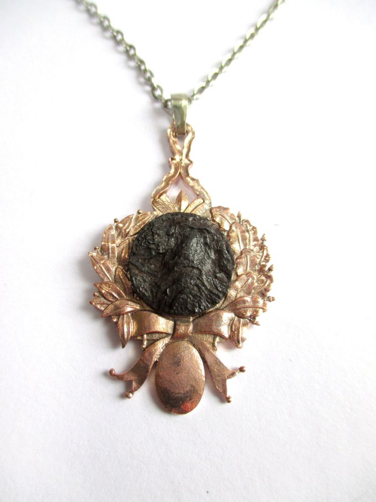 Reclaimed Antique Petrified Metal on a Medal Necklaces by Picossa on Etsy