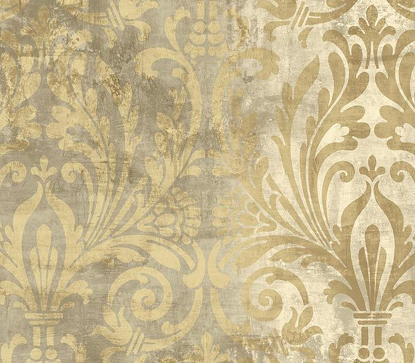 "Taupe ""worn"" damask wallpaper"