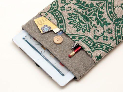 Ipad air sleeve cover case bag pouch. Linen handmade ipad air cover with pocket
