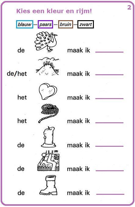 Woordenschatoefening : Kies een kleur en rijm! (2). Lees de zinnen en kijk naar de tekeningen : vind de namen van de voorwerpen en rijm met een kleur.