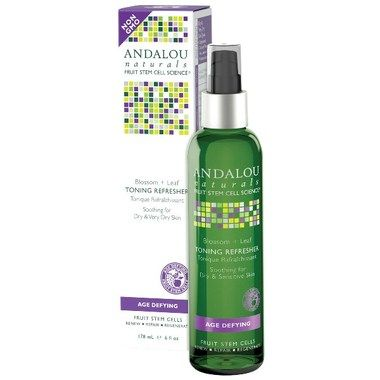 Tuck a bottle of Andalou Naturals Age Defying Blossom & Leaf Toning Refresh in your bag for a refreshing glow all day. It protects, hydrates, and replenishes.
