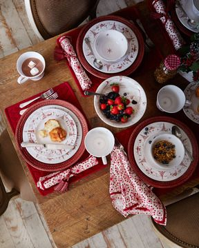 Juliska Country Estate Winter Frolic Dinnerware on shopstyle.com | A traditional winter scene is always right at home—even in a modern setting. Here images of snowy hillsides and winter cheer rendered in ruby decorate dinnerware from Juliska's Country Estate Winter Holiday Collection.