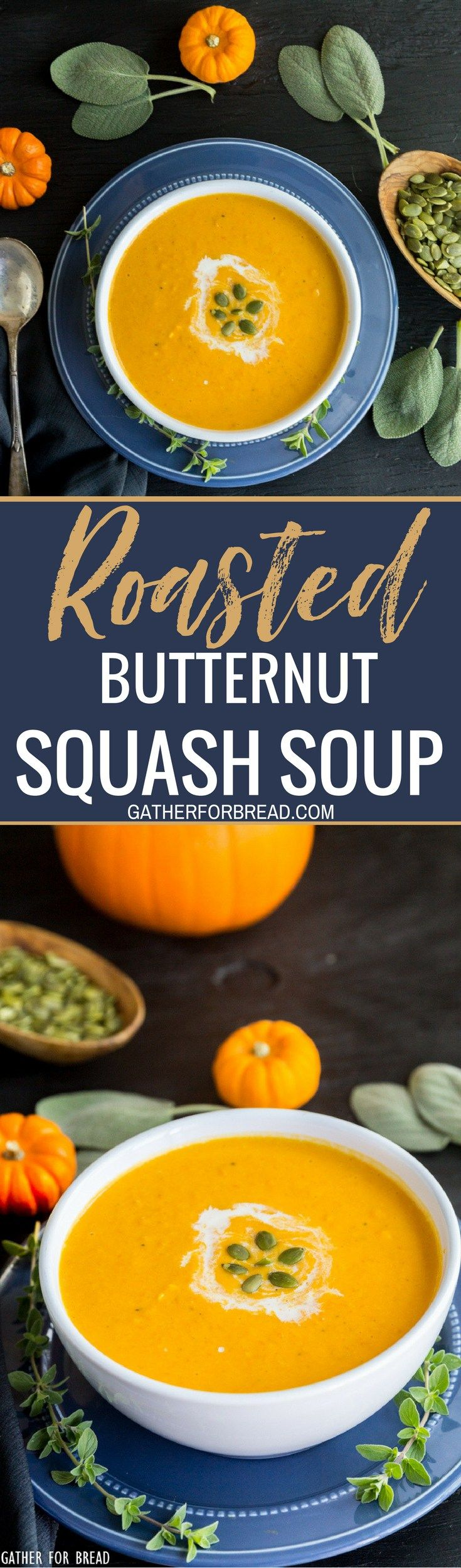 Roasted Butternut Squash Soup - Recipe for the best butternut squash soup winter. So easy and creamy. Perfect for autumn lunch or a side dish for dinner.