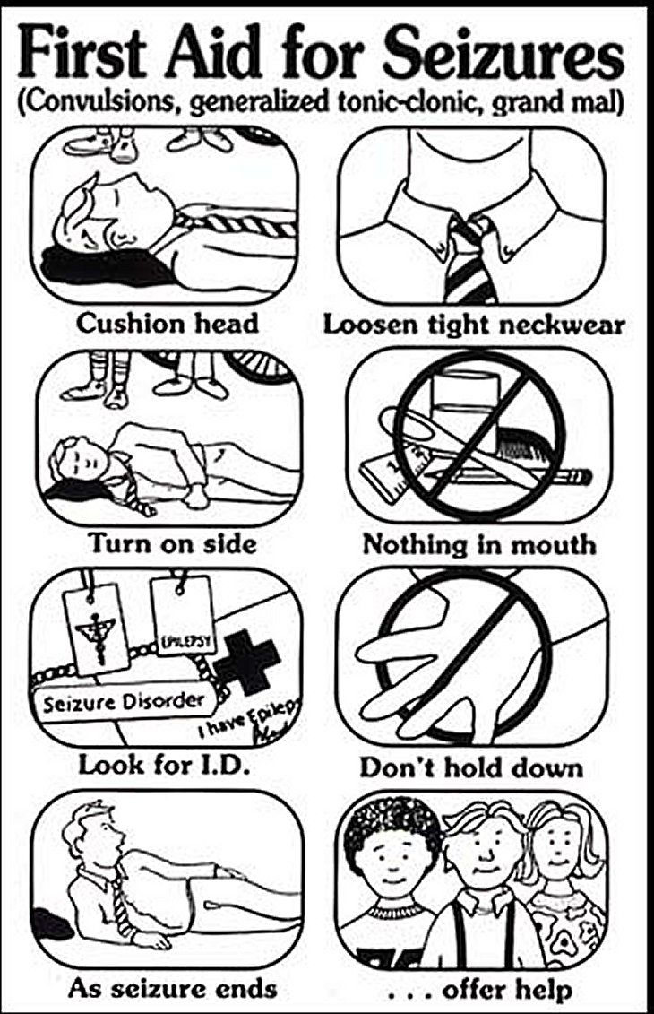 First Aid for Seizures. Excellent advice. NEVER PUT