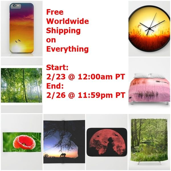 Free Worldwide Shipping on Everything Start: 2/23 @ 12:00am PT End: 2/26 @ 11:59pm PT  Animal, landscape,forest, sunshine, sunrays, sunbeams, digital art, photography, nature, funny, silhouettes, halloween, scary, eerie, space, fauna, flora, flowers, castles, moody, neo-mystical Discount, art, home decor, apparel, clothing, technical stuff
